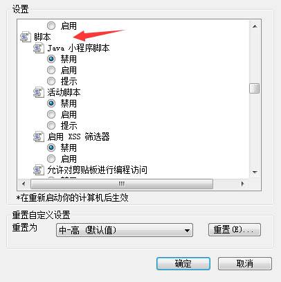 IE浏览器禁用脚本