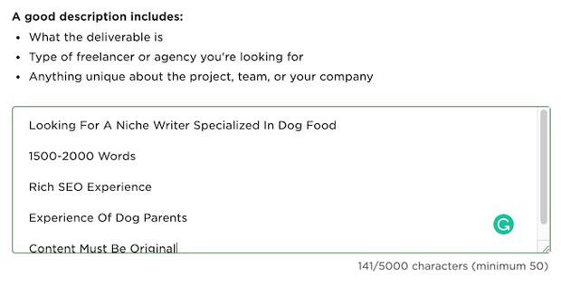 填写job description